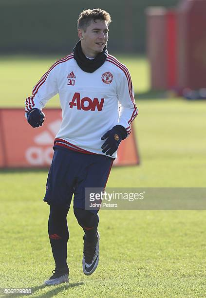 Guillermo Varela of Manchester United in action during a first team training session at Aon Training Complex on January 22 2016 in Manchester England