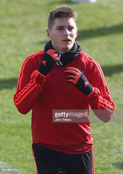 Guillermo Varela of Manchester United in action during a first team training session at Aon Training Complex on February 24 2016 in Manchester United...