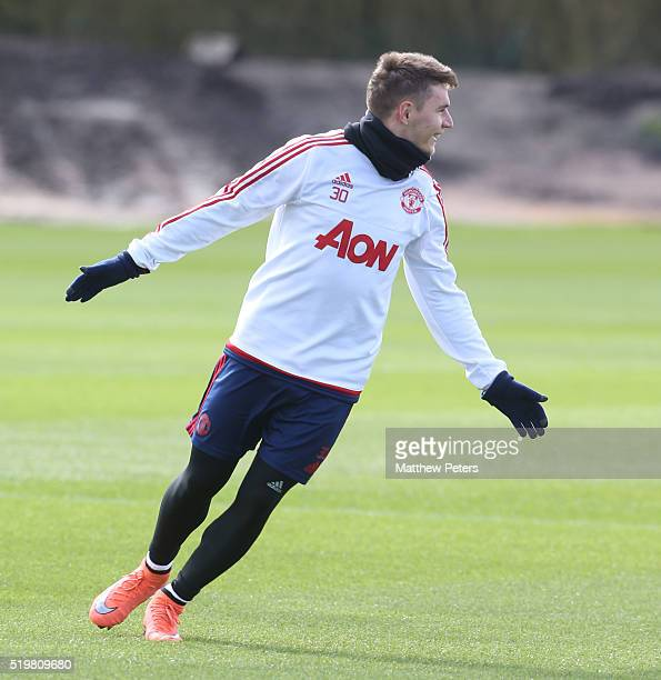 Guillermo Varela of Manchester United in action during a first team training session at Aon Training Complex on April 8 2016 in Manchester England