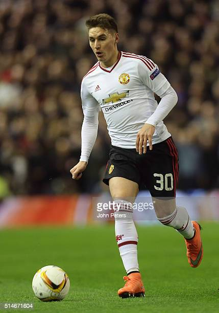 Guillermo Varela of Manchester United in action during the UEFA Europa League round of 16 first leg match between Liverpool and Manchester United at...