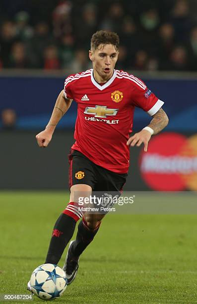 Guillermo Varela of Manchester United in action during the UEFA Champions League match between VfL Wolfsburg and Manchester United at Volkswagen...