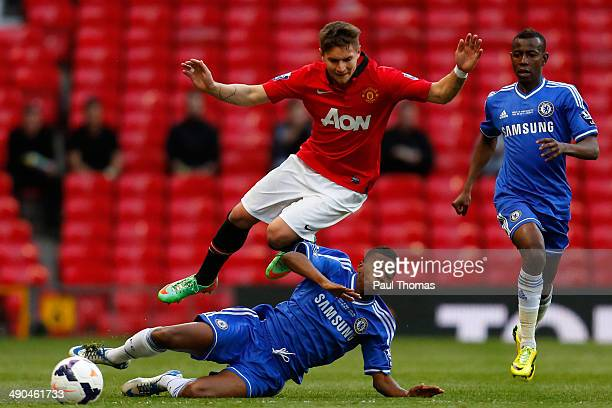 Guillermo Varela of Manchester United in action with Charly Musonda of Chelsea during the Barclays Under-21 Premier League Final match between...
