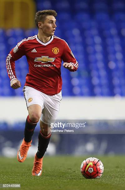 Guillermo Varela of Manchester United U21s in action during the Barclays U21 Premier League match between Tottenham Hotspur U21s and Manchester...