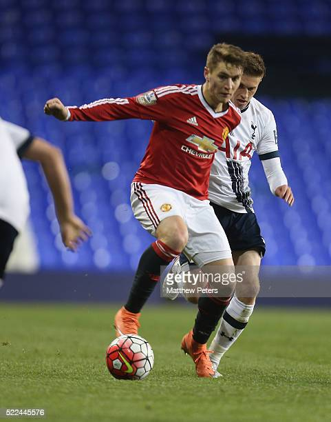 Guillermo Varela of Manchester United U21s in action with Joe Pritchard of Tottenham Hotspur U21s during the Barclays U21 Premier League match...