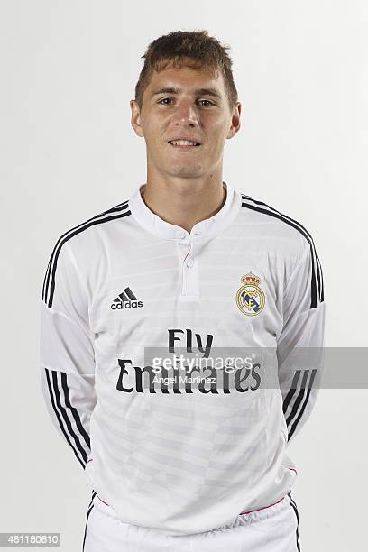 Guillermo Varela of Real Madrid Castilla poses during a portrait session at Ciudad Real Madrid on January 8 2015 in Madrid Spain