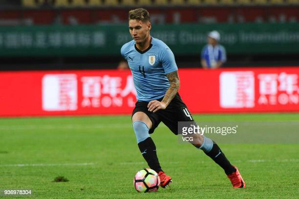 Guillermo Varela of Uruguay drives the ball during the 2018 China Cup International Football Championship match between Uruguay and Czech Republic at...