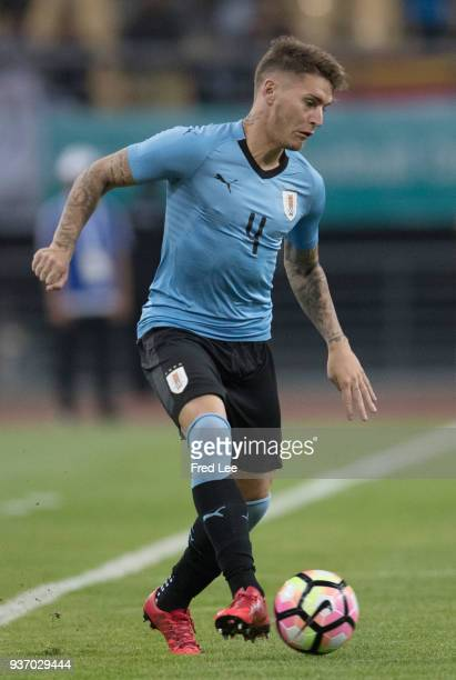 Guillermo Varela of Uruguay in action during 2018 China Cup International Football Championship between Uruguay and Czech Republic at Guangxi Sports...