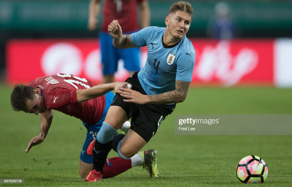 Guillermo Varela #4 of Uruguay in action during 2018 China Cup International Football Championship between Uruguay and Czech Republic at Guangxi Sports Center on March 23, 2018 in Nanning, China.