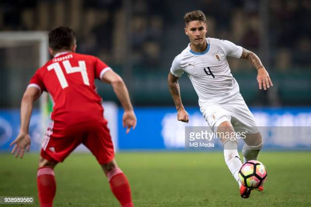 Guillermo Varela of Uruguay national football team dribbles against Wales national football team in their final match during the 2018 Gree China Cup...