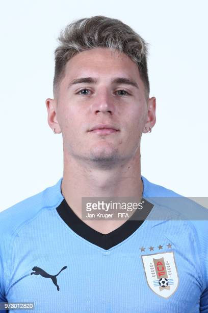 Guillermo Varela of Uruguay poses for a portrait during the official FIFA World Cup 2018 portrait session at Borsky Sport Centre on June 12 2018 in...