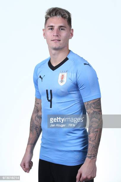 Guillermo Varela of Uruguay poses for a portrait during the official FIFA World Cup 2018 portrait session at on June 12 2018 in Nizhniy Novgorod...