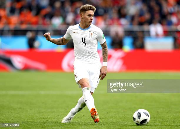 Guillermo Varela of Uruguay runs with the ball during the 2018 FIFA World Cup Russia group A match between Egypt and Uruguay at Ekaterinburg Arena on...