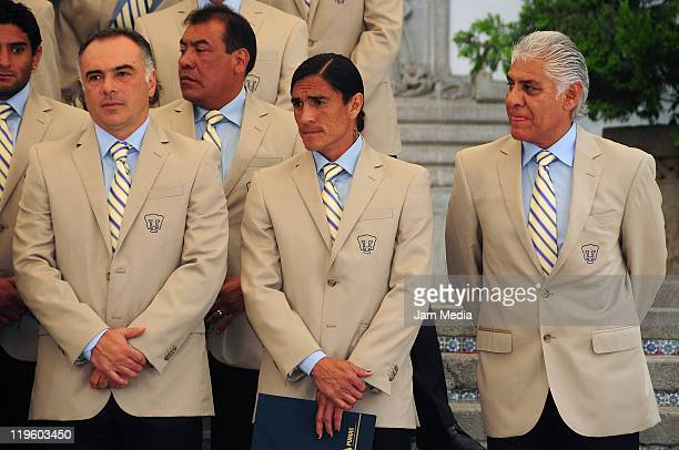 Guillermo Vazquez Coach of Pumas Juan Francisco Palencia and Mario Trejo sporting director of Pumas during a visit of players of Pumas champion of...