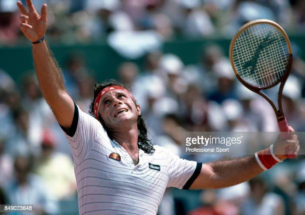 Guillermo Vilas of Argentina in action during a men's singles match at the French Open Tennis Championships at Roland Garros Stadium in Paris, circa...