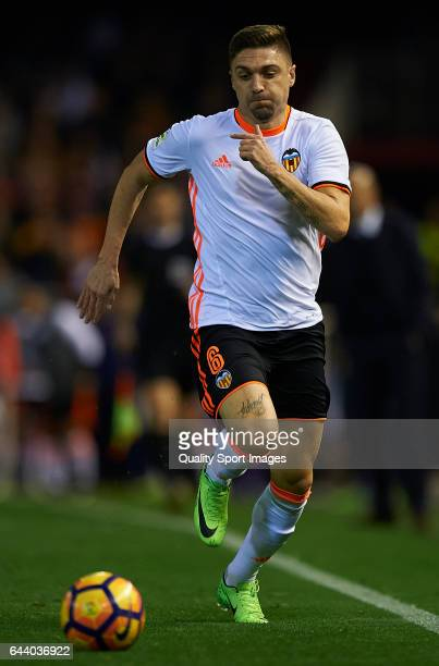 Guillherme Siqueira of Valencia in action during the La Liga match between Valencia CF and Real Madrid at Mestalla Stadium on February 22 2017 in...