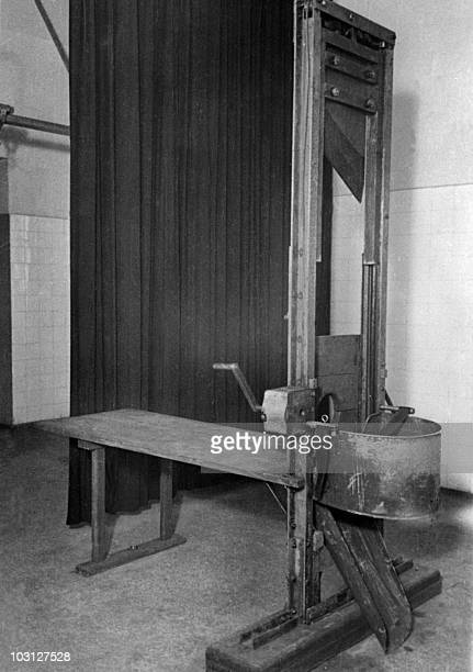 A guillotine is seen at the Nazi concentration camp of Dachau near Munich 18 April 1945 upon the liberation of the camp by Allied troops