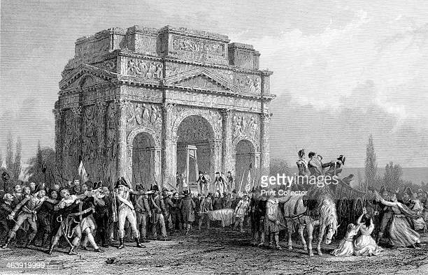 Guillotine set up under the Arch of Marius at Orange France French Revolution during the Reign of Terror 17931794 The Terror was imposed by the...