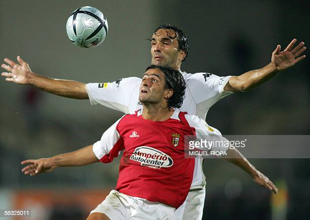 Victoria SC's Flavio Sousa vies with Sporting Braga's Brazilian Sidney Moraes during their Portuguese Super League football match at Afonso Henriques...