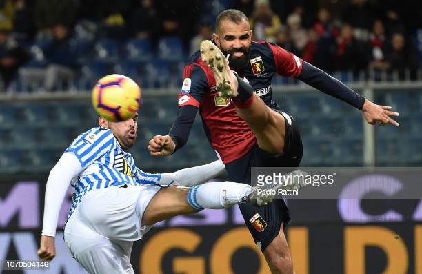 Guimaraes Sandro of Genoa and Andrea Petagna battle for the ball during the Serie A match between Genoa CFC and SPAL at Stadio Luigi Ferraris on...