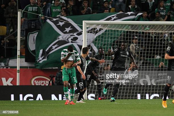 Guimaraes's defender Kanu celebrates scoring Guimaraes goal during the Primeira Liga Portugal match between Sporting CP and Vitoria Guimaraes at...