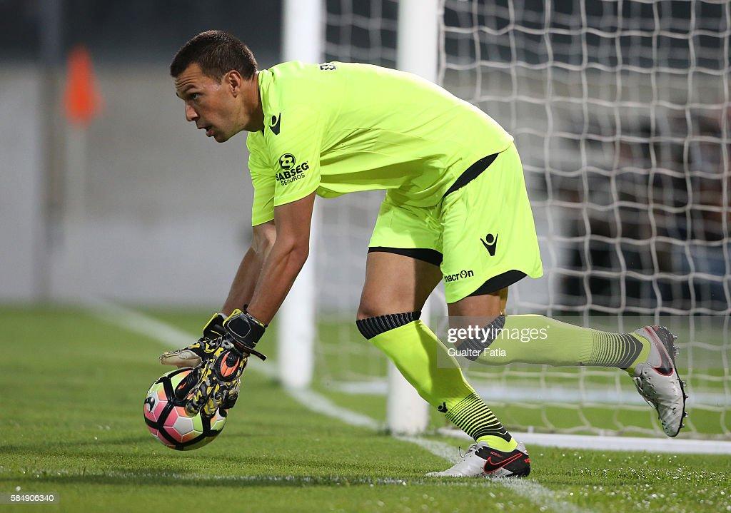 Guimaraes's goalkeeper Douglas Jesus in action during the Guimaraes City Trophy match between Vitoria de Guimaraes and FC Porto at Estadio D. Afonso Henriques on July 31, 2016 in Guimaraes, Portugal.