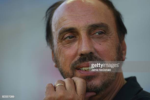 Guimareas manager Manuel Cajuda looks on during the Algarve Challenge Cup match against Middlesbrough at the Estadio Algarve on July 24, 2008 in...