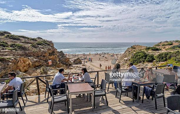Guincho beach on June 5 2016 in Lisbon Portugal Praia do Guincho is a beautiful beach situated on the westward facing side of the Lisbon coastline...