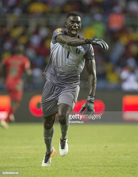 Guinea Bissau goalkeeper JONAS MENDES celebrates a goal during the Group A match between Gabon v GuineaBissau at Stade de L'Amitie on January 14 2017...