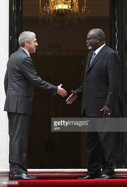 Guinea Bissau's President Malam Bacai Sanha is welcomed by Portuguese Prime Minister Jose Socrates upon his arrival at Sao Bento palace in Lisbon on...