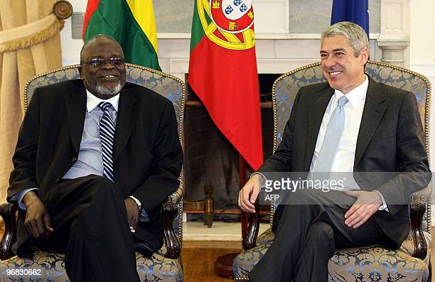 Guinea Bissau's President Malam Bacai Sanha smiles as he confers with Portuguese Prime Minister Jose Socrates at Sao Bento palace in Lisbon on...