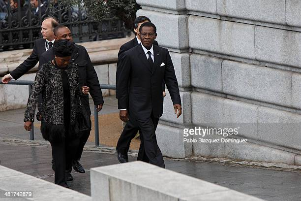 Guinea Equatorial's President Teodoro Obiang Nguema Mbasogo arrives for the state funeral ceremony for former Spanish prime minister Adolfo Suarez at...