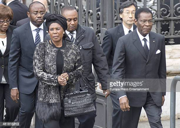 Guinea Equatorial's President Teodoro Obiang Nguema Mbasogo arrives the state funeral ceremony for former Spanish prime minister Adolfo Suarez at the...