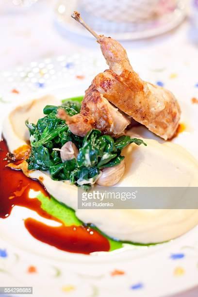 Guinea fowl lstuffed with herbs