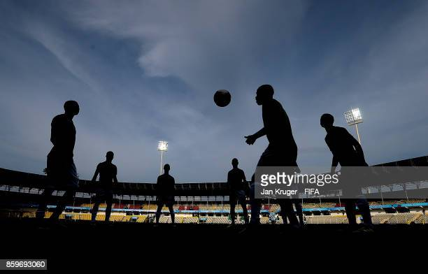Guinea players warm up ahead of the FIFA U17 World Cup India 2017 group C match between Costa Rica and Guinea at Pandit Jawaharlal Nehru Stadium on...
