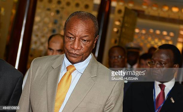 Guinea President Alpha Conde arrives at Indira Gandhi International Airport for the Third IndiaAfrica Forum Summit in New Delhi on October 27 2015...