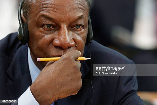 Guinea President Alpha Conde attends a meeting about the fight against the Ebola outbreak in West Africa during the World BankInternational Monetary...