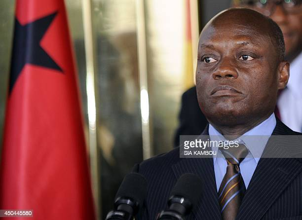 GuineaBissau newly elected President Jose Mario Vaz listens to questions during a joint press conference with his Ivorian counterpart after their...