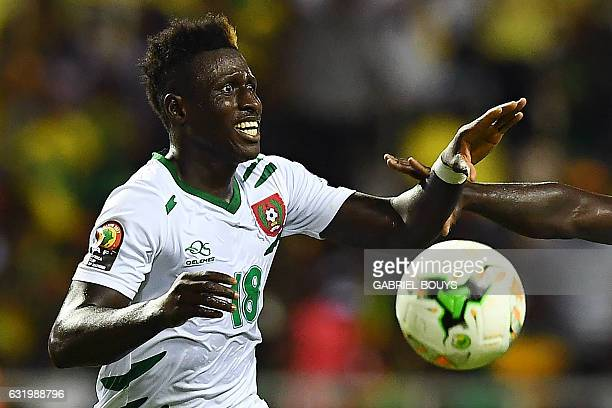 GuineaBissau's forward Piqueti celebrates after scoring a goal during the 2017 Africa Cup of Nations group A football match between Cameroon and...