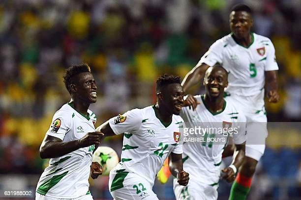 TOPSHOT GuineaBissau's forward Piqueti celebrates with teammates after scoring a goal during the 2017 Africa Cup of Nations group A football match...