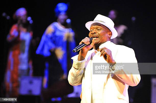 Guinean musician Mory Kante joins Baaba Maal on stage at the Royal Festival Hall on July 28 2012 in London United Kingdom