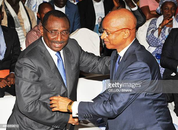 Guinean opposition politician Cellou Dalein Diallo of the Union of Democratic Forces of Guinea party and Sidya Toure of the Union of Republican...