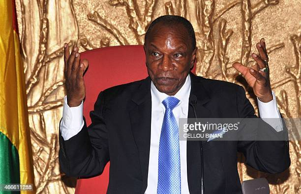 Guinean President Alpha Conde speaks during a press conference on the Ebola response strategy and postEbola economic recovery at the presidential...
