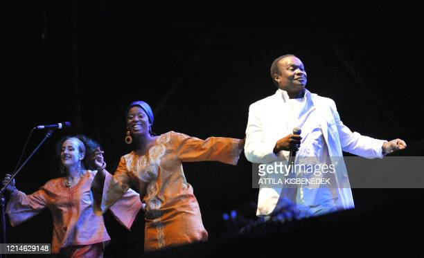 Guineanborn musician Mory Kante performs with the 'Yeke Yeke Anniversary Tour' band on the the 'world stage' on the Hajogyar Island of Budapest on...