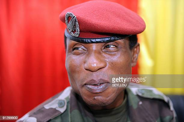 Guinea's military junta chief, Captain Moussa Dadis Camara speaks on September 30, 2009 in Conakry. The junta leader called today for a UN-backed...