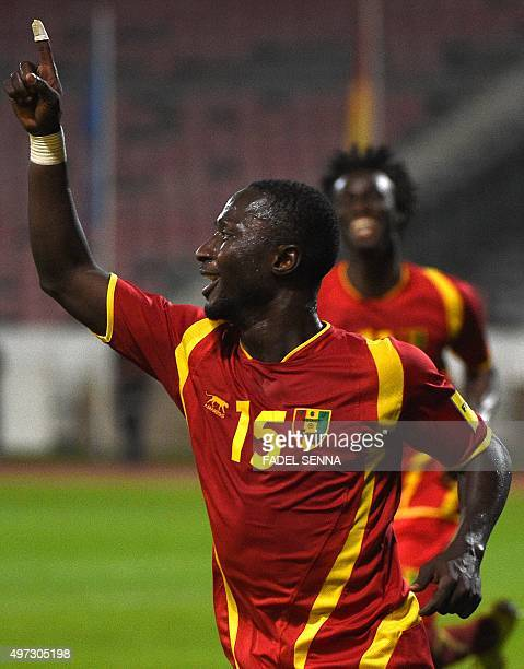 Guinea's Naby Keita celebrates the second goal during the World Cup 2018 qualifier football match between Guinea and Namibia on November 15 2015 in...