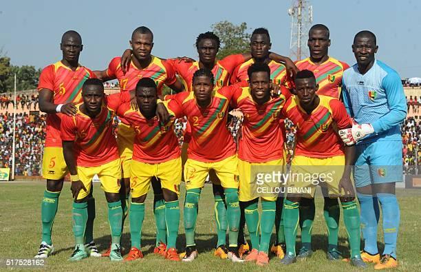 Guinea's National football team players Fode Camara Sekou Conde Idrissa Sylla Issiaga Sylla Mathias Pogba Naby Yattara Naby Keita unidentified...