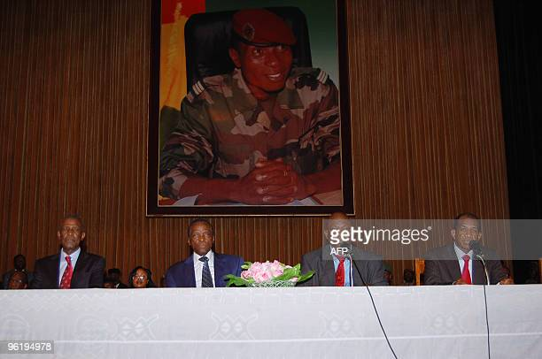 Guinea's new interim Prime Minister Jean-Marie Dore and General Sekouba Konate , president of the transition government attend on January 26, 2010 in...