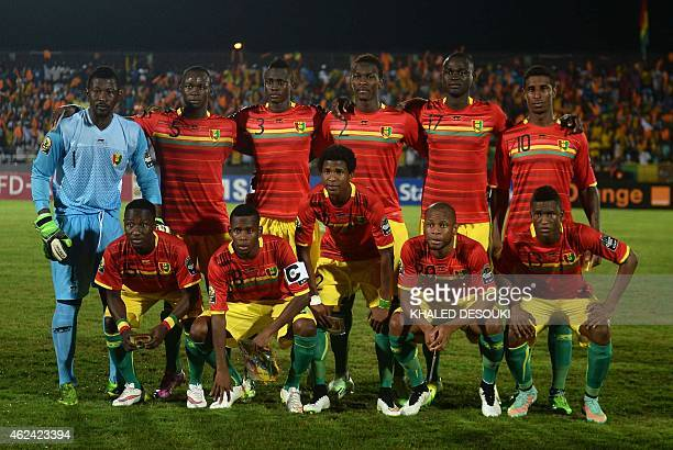 Guinea's players line up ahead of the 2015 African Cup of Nations group D football match between Guinea and Mali in Mongomo on January 28 2015...