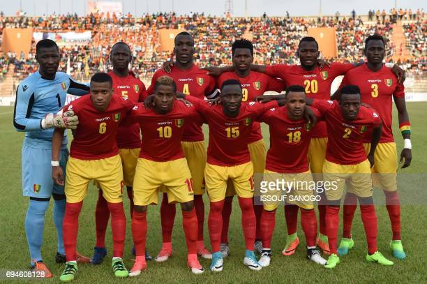 Guinea's players pose before the 2019 Africa Cup of Nations qualifying football match between Ivory Coast and Guinea at the Stade de la Paix in...