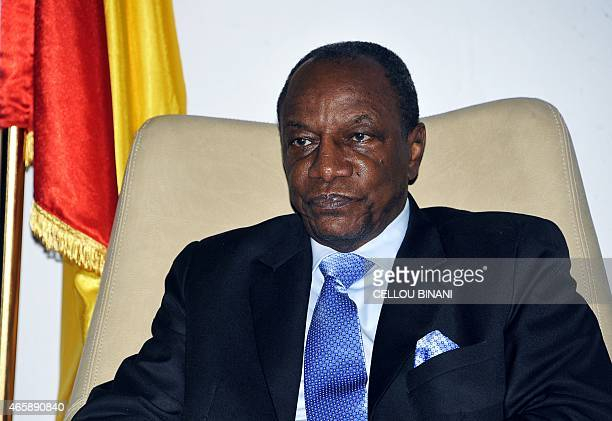 Guinea's President Alpha Conde attends an Organisation for the Development of the Senegal River summit in Conakry on March 11 2015 The OMVS...